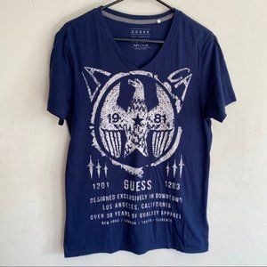 Guess 1981 30 years Star v neck graphic t shirt